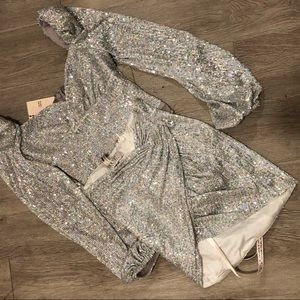 silver sequin set dress xs skirt shoulder pads